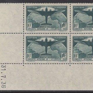 Frankreich 1936 - 10 francs dark green, block of 4, dated corner - Yvert 321