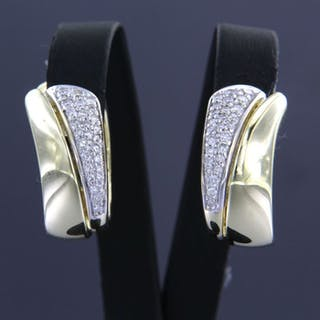 14 kt. White gold, Yellow gold - Earrings - 0.60 ct Diamond