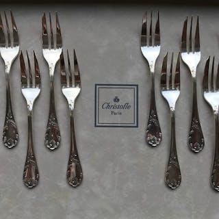 Christofle modèle Marly  - Fourchettes à gâteau  (12) - Métal argenté