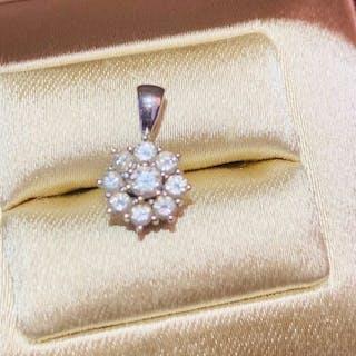 18 quilates Oro blanco - Colgante Diamante - Diamantes