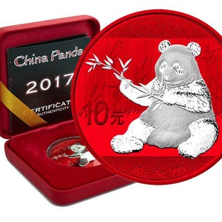 China - 10 Yuan 2017 Panda Space Red Edition in Box und CoA - Silber