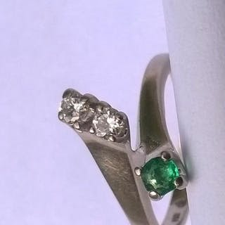 18 kt. White gold - Ring - 0.14 ct Mixed - Emerald