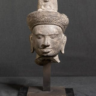 Sculpture - Sandstone - Male deity head - very likely...