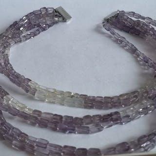 J. Köhle Pforzheim - 925 Silber - 6 reihige Halskette Amethyst - Bergkristall