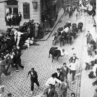 Jose Galle (XX)  - (2x) Running with the Bulls at Pamplona, 1950's