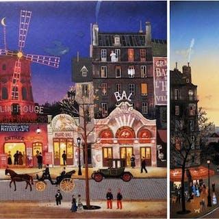 Michel Delacroix- Devant le Moulin Rouge& Saint Germain des Prés (2 oeuvres)