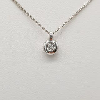 HRD Certificate - 18 kt. White gold - Necklace with pendant - 0.04 ct Diamond