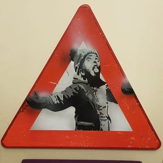 "Dverso - Banksy ""Season's Greetings"" on original traffic sign"