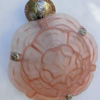 Kronleuchter, Aufhängung Art Deco. Rosé Glasvase Signiert Degué circa 1930
