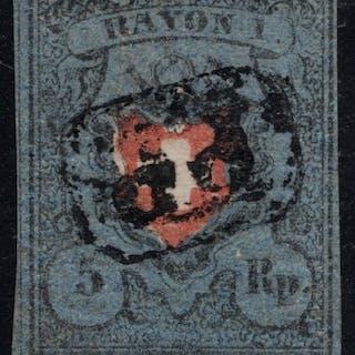 """Schweiz 1850/1854 - Rayon der Farbnuance """"Grauviolettblau"""""""
