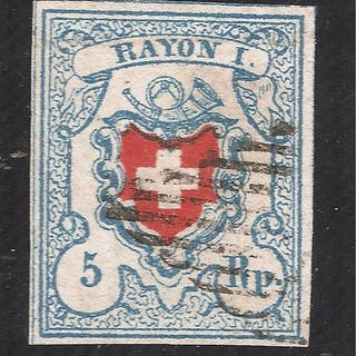 Schweiz 1851 - RAYON I type 17 stone C2/RU thin paper...