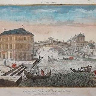 Italien, Venezia; Basset - Vue du Pont Realto et de la Prison de Venise - 1770