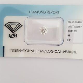 1 diamond - 0.80 ct - Brilliant - H - IF (no inclusions)