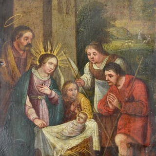 Continental school (17th century) - Adoration of the shepherds