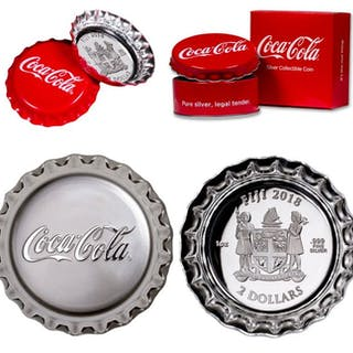 Fiji - 1+2 Dollar 2018 Coca Cola silver coins in crown...