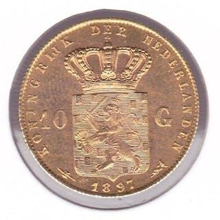 The Netherlands - 10 gulden 1897 met vaste parels - Gold