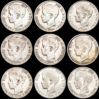 Spanien - Conjunto de 9 monedas de plata - Peseta - Alfonso XIII (1900