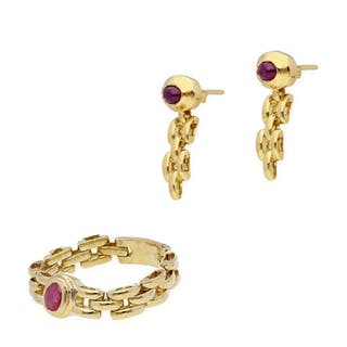 18 kt. Yellow gold - Earrings, Ring, Set Ruby