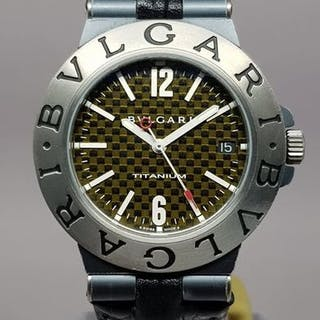 Bulgari - Diagono Titanium Carbon Dial 38mm with extra...