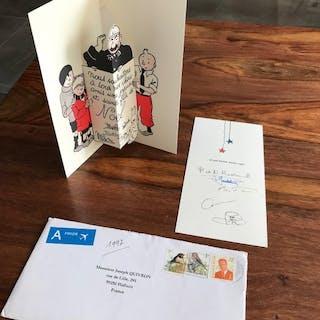 Tintin - Hergé - Carte de voeux + dépliant avec signature...