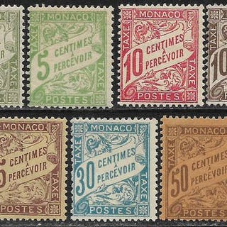 Monaco 1905/1909 - Complete series of the first tax stamps - Yvert 1 à 7