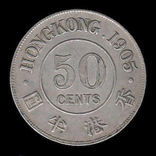 Hong Kong - 50 Cents - 1905 King Edward VII- Silver