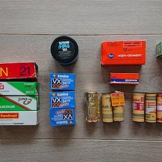 Analog Film Roll Collection of 25 - Kodak - Fuji - Gevapan - Agfa - Ilford