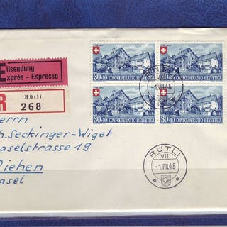 Schweiz 1945 - A series of 4 letters with blocks of 4 - Zumstein PP N° 26 - 29