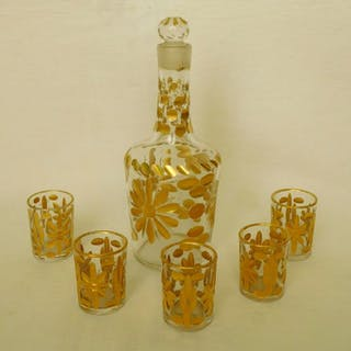 Baccarat - 18 th century golden liquor service - carafe and glasses - Crystal