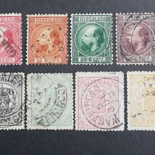Niederlande - King Willem III and National Coat of Arms - NVPH 7/12 + 13/18