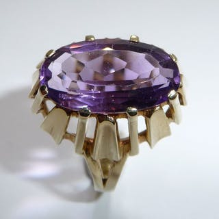 14 kt Gelbgold - Ring, Vintage - Amethyst 5,0 ct.