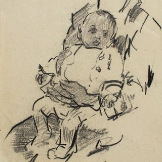 Herman Moerkerk (1879-1949) - Newly born baby on lap