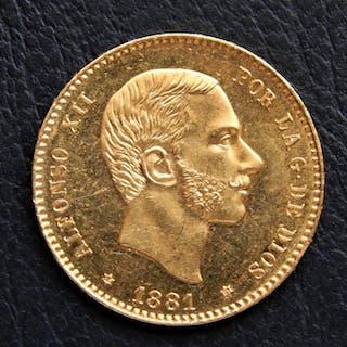 España - Alfonso XII - 25 Pesetas 1881 *18-81 MSM- Oro