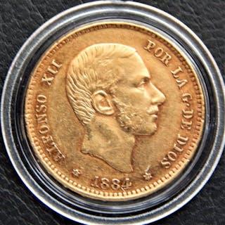 España - Alfonso XII - 25 Pesetas 1884 *18-84 MSM - Muy escasa - Oro