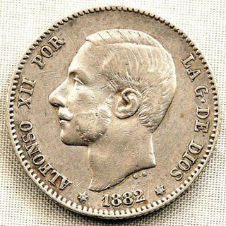 Spanien - 1 Peseta - 1882 - Madrid - Alfonso XII -ESCASA - Silber
