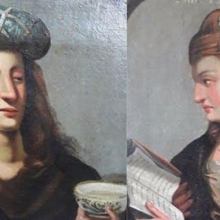 Spaanse of Vlaamse schilder - 2 Spanish paintings of Saints