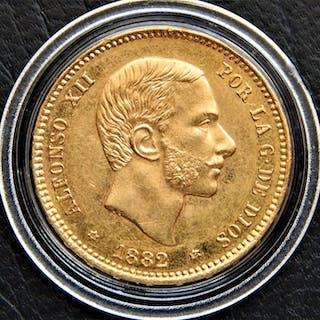 España - Alfonso XII - 25 Pesetas 1882 *18-82 MSM - Muy escasa - Oro