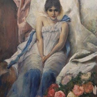 Scuola italiana XIX-XX secolo- Ritratto di fanciulla