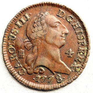 España - 4 Maravedis- 1778 - Segovia - Carlos III - PERFECTA - Cobre