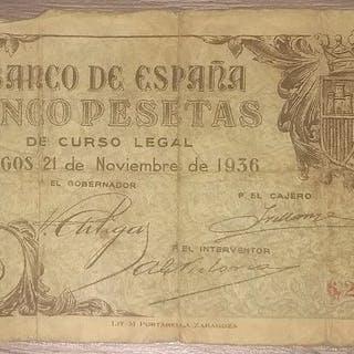 España - 5 pesetas 1936 - Pick 97a