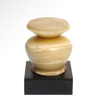 Ancient Egyptian AlabasterCosmetic Vessel with Lid