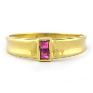 *Low Reserve Price* - 18 kt. Yellow gold - Ring Ruby