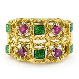 Luxury - 18 kt. Yellow gold - Ring Ruby - Pink Sapphire