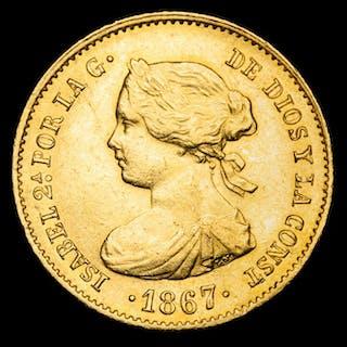 España - 4 escudos.- Isabel II (1833-1869) acuñados en 1867. Madrid - Oro