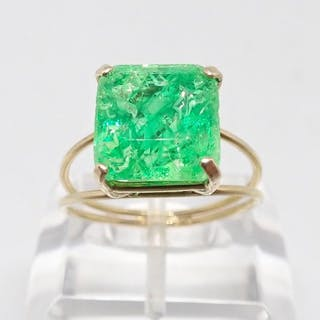 18 kt. Yellow gold - Ring - 8.48 ct Emerald