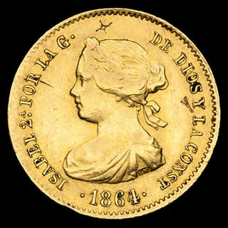 España - Isabel II (1833-1869) -40 reales - Ceca de Madrid, 1864 - Oro