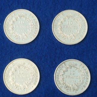 Frankreich - 10 Francs 1965 Hercule (4 monnaies) - Silber