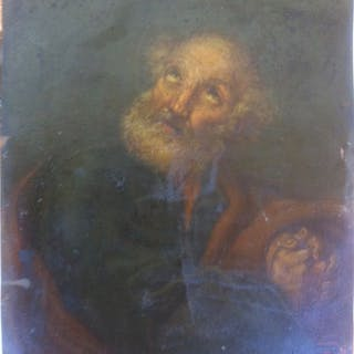 """Saint Peter penitent"" - oil on copper - Late 17th century"