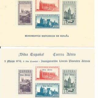 Spagna 1938 - Monuments miniature sheets Type sheet and...