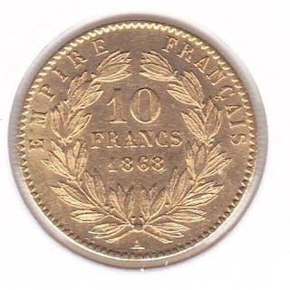 France - 10 Francs 1868 A Napoleon III - Gold
